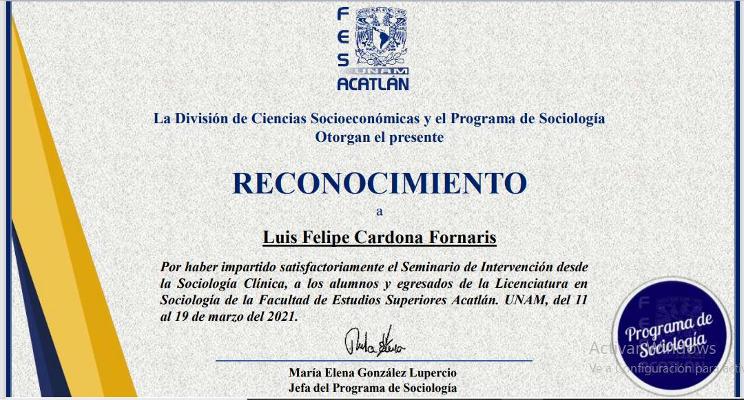 El programa de sociología de Facultad de Estudios Superiores (FES) Aclatán, UNAM, reconoce  el trabajo de SociCaribe en el seminario de sociología clínica.