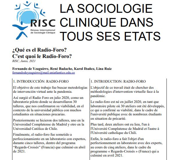 Sociocaribe participa en la publicación de articulo en la Red Internacional de Sociología Clínica (RISC)